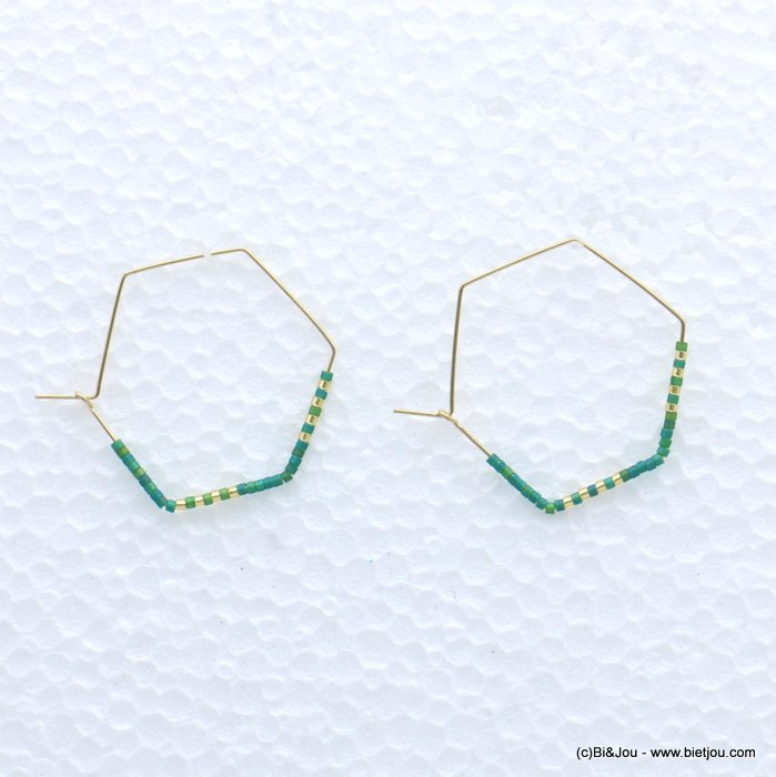 earrings 0319171-07 through hammered hexagon minimalist metal-seed beads 40x33mm