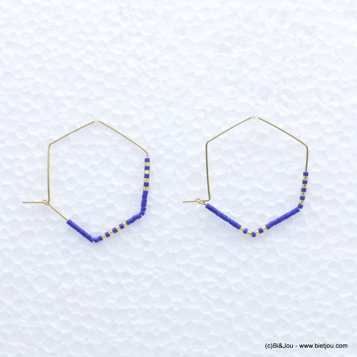 earrings 0319171-09 through hammered hexagon minimalist metal-seed beads 40x33mm