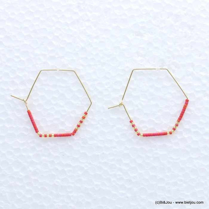 earrings 0319171-18 through hammered hexagon minimalist metal-seed beads 40x33mm