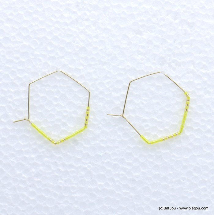 earrings 0319171-43 through hammered hexagon minimalist metal-seed beads 40x33mm