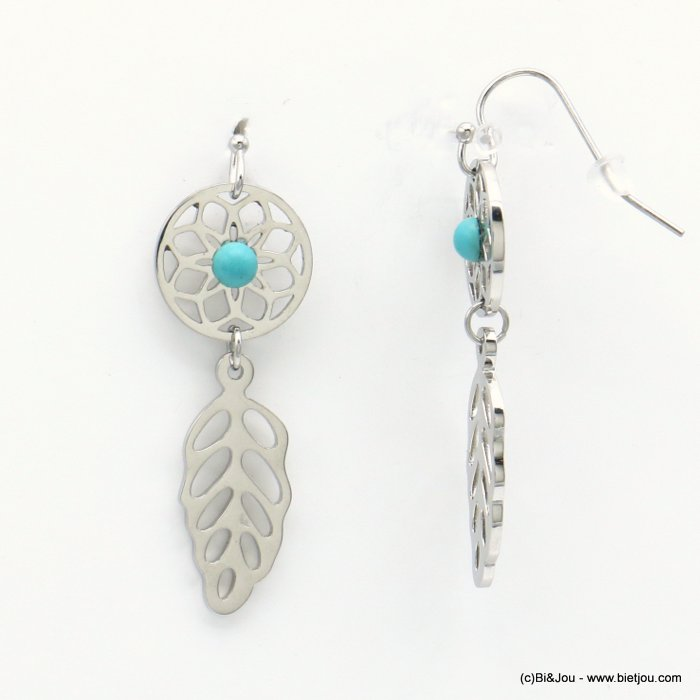 earrings 0319175-13 stainless steel feather rose window reconstituted stone fish hook clasp 15x45mm