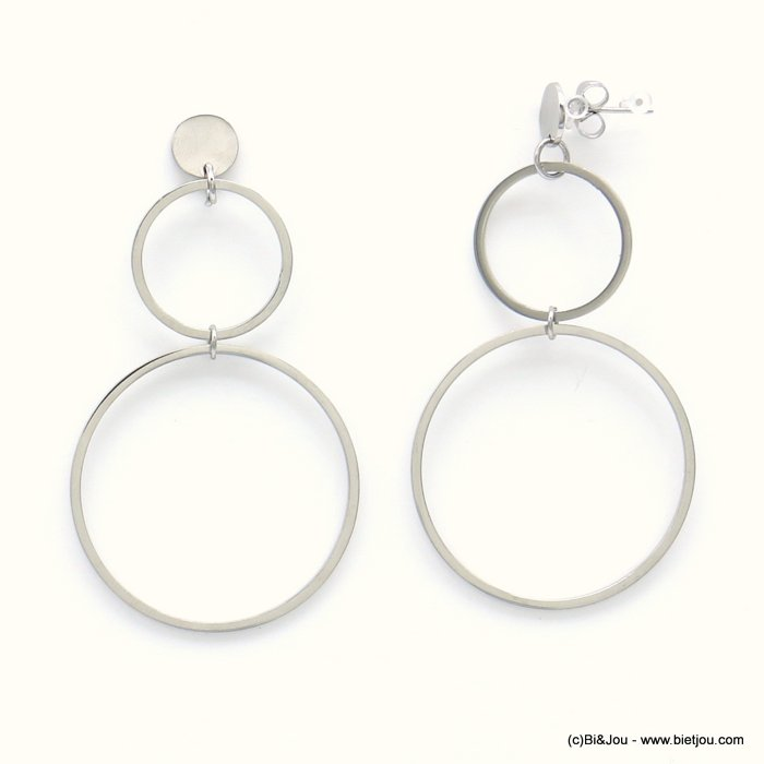 earrings 0319178-13 geometric overlapped rings stainless steel butterfly clasp 33x60mm