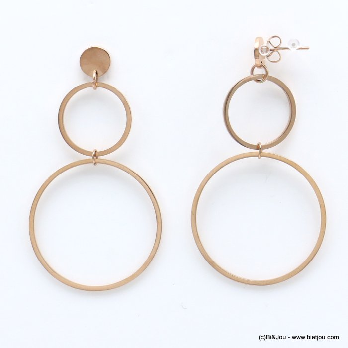 earrings 0319178-23 geometric overlapped rings stainless steel butterfly clasp 33x60mm