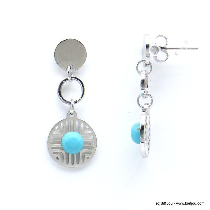 earrings 0319182-13 geometric overlapped round discs stainless steel reconstituted stone butterfly clasp 12x30mm
