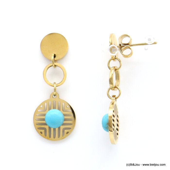earrings 0319182-14 geometric overlapped round discs stainless steel reconstituted stone butterfly clasp 12x30mm