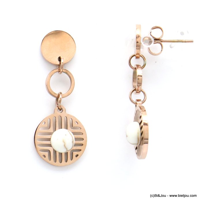 earrings 0319182-23 geometric overlapped round discs stainless steel reconstituted stone butterfly clasp 12x30mm