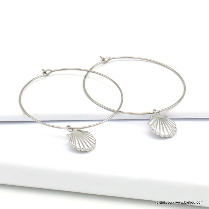 earrings 0319202-13 stainless steel, ring and shell pendant, clasp hoop 40x40mm