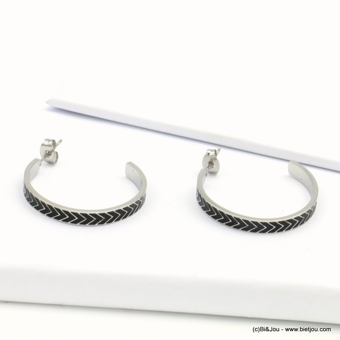 earrings 0319205-01 hoop, stainless steel, chevron pattern, butterfly clasp 10x30mm