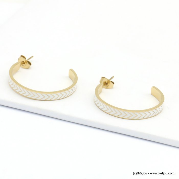 earrings 0319205-19 hoop, stainless steel, chevron pattern, butterfly clasp 10x30mm