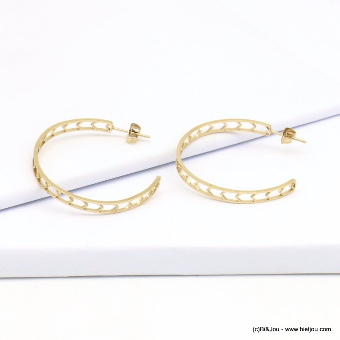 Earrings 0319206-14 golden, stainless steel, arrow shape perforated hoops with stud clasp 40mmx40mm