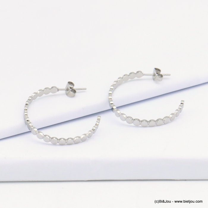 Earrings 0319207-13 stainless steel, silver coloured, small rounds shape, hoops and stud clasp 30mmx30mm