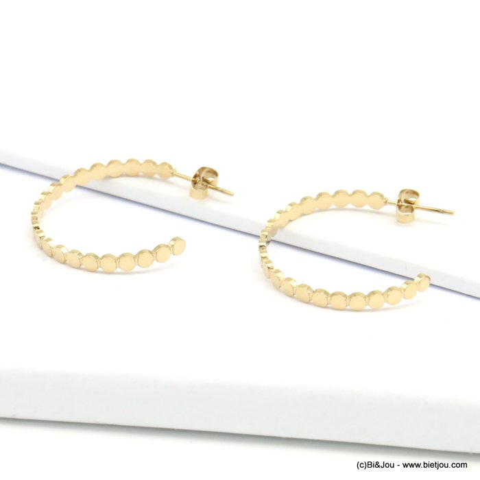 Earrings 0319207-14 stainless steel, golden coloured, small rounds shape, butterfly clasp 3x30mm