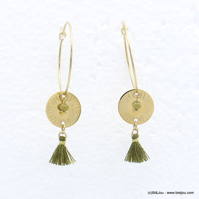 earrings 0319217-07 stainless steel, ring, round golden engraved pendant, tassel and colored pearl, clasp hoop 20x40mm