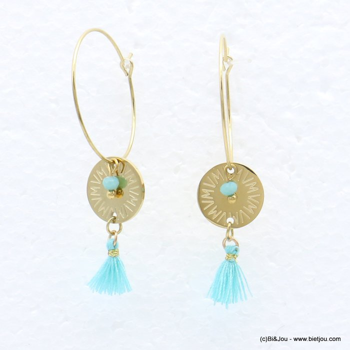 earrings 0319217-17 stainless steel, ring, round golden engraved pendant, tassel and colored pearl, clasp hoop 20x40mm