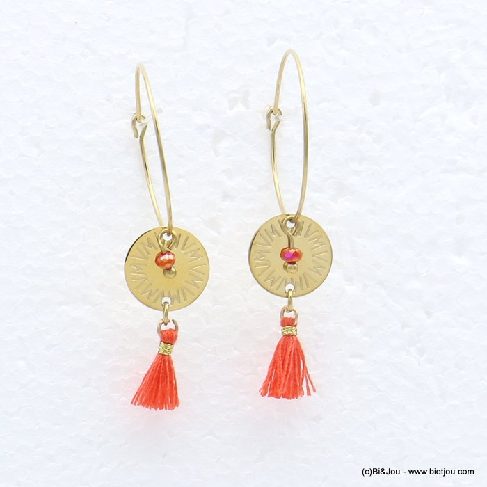 earrings 0319217-36 stainless steel, ring, round golden engraved pendant, tassel and colored pearl, clasp hoop 20x40mm