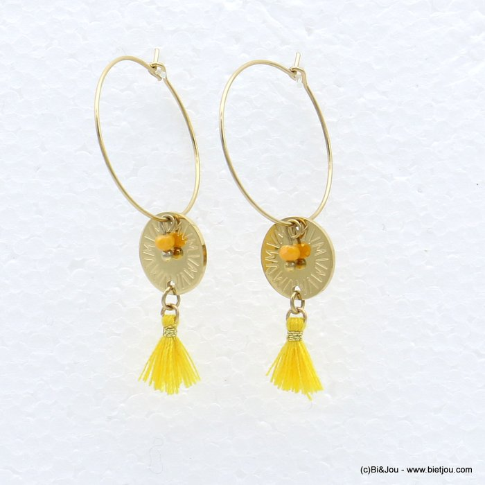 earrings 0319217-43 stainless steel, ring, round golden engraved pendant, tassel and colored pearl, clasp hoop 20x40mm