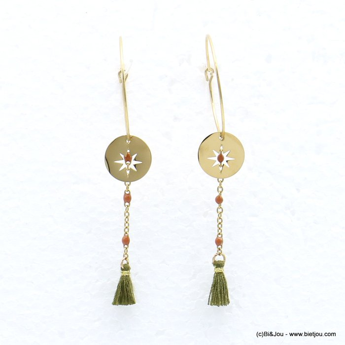 earrings 0319218-07 stainless steel, ring, North Star pendant, chain with pearls and tassel, clasp hoop 20x60mm