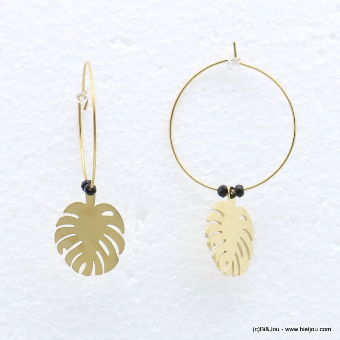 earrings 0319219-01 stainless steel, ring, monstera leaf pendant, pearls, clasp hoop 30x40mm