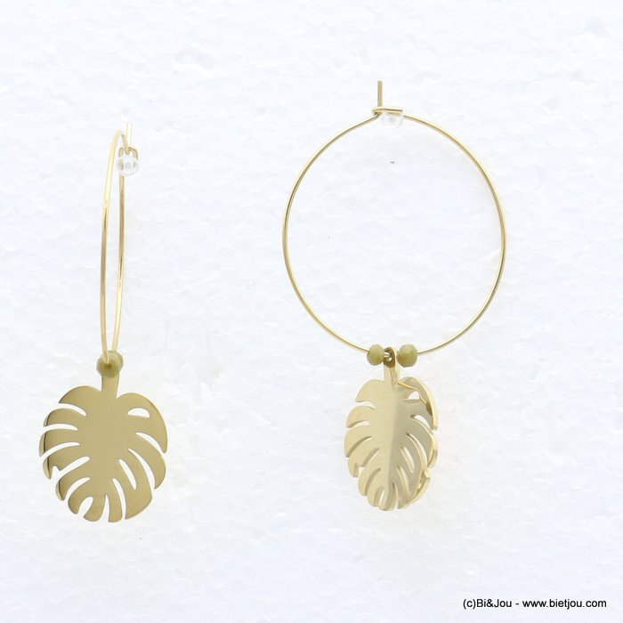 earrings 0319219-07 stainless steel, ring, monstera leaf pendant, pearls, clasp hoop 30x40mm