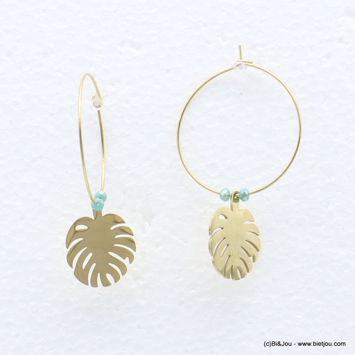 earrings 0319219-17 stainless steel, ring, monstera leaf pendant, pearls, clasp hoop 30x40mm