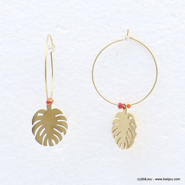 earrings 0319219-36 stainless steel, ring, monstera leaf pendant, pearls, clasp hoop 30x40mm
