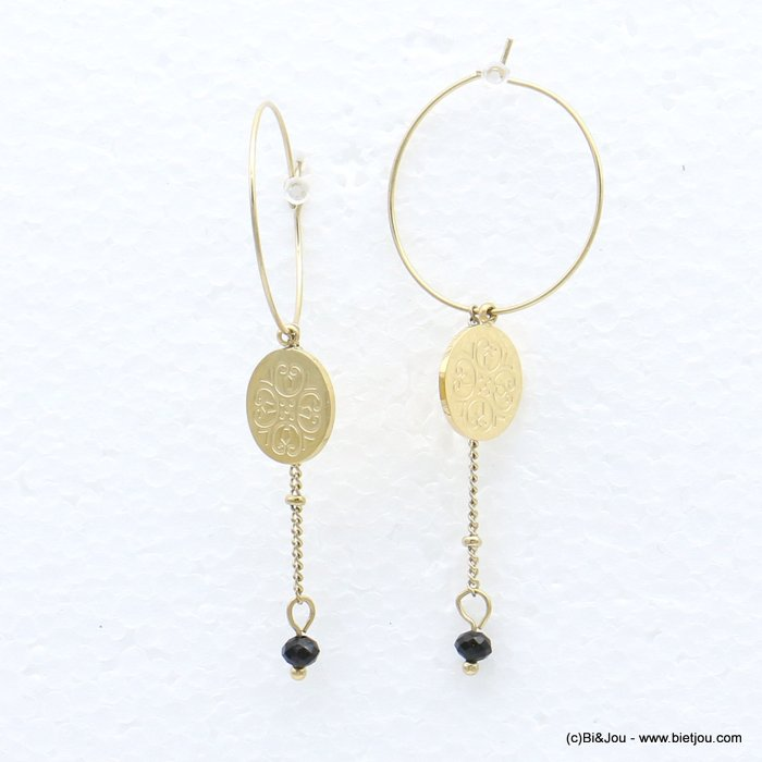 earrings 0319220-01 stainless steel, ring, round golden engraved pendant, chain with colored pearl, clasp hoop 20x50mm