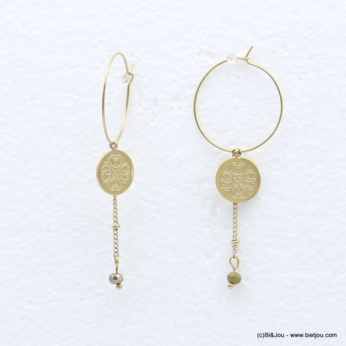 earrings 0319220-07 stainless steel, ring, round golden engraved pendant, chain with colored pearl, clasp hoop 20x50mm