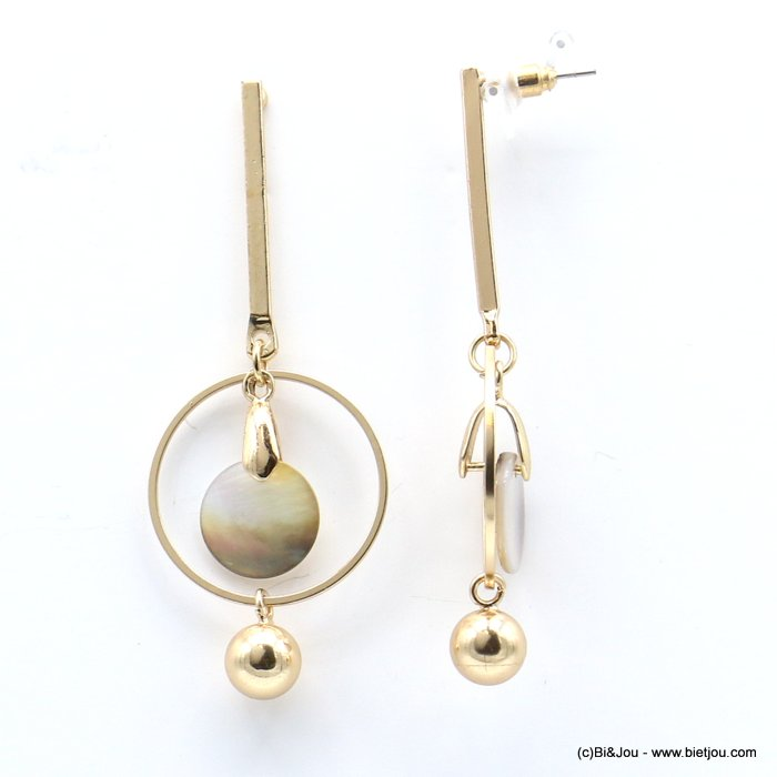 earrings 0319228-14 geometric, metal, ring, shell circle, stem, butterfly clasp 20x60mm