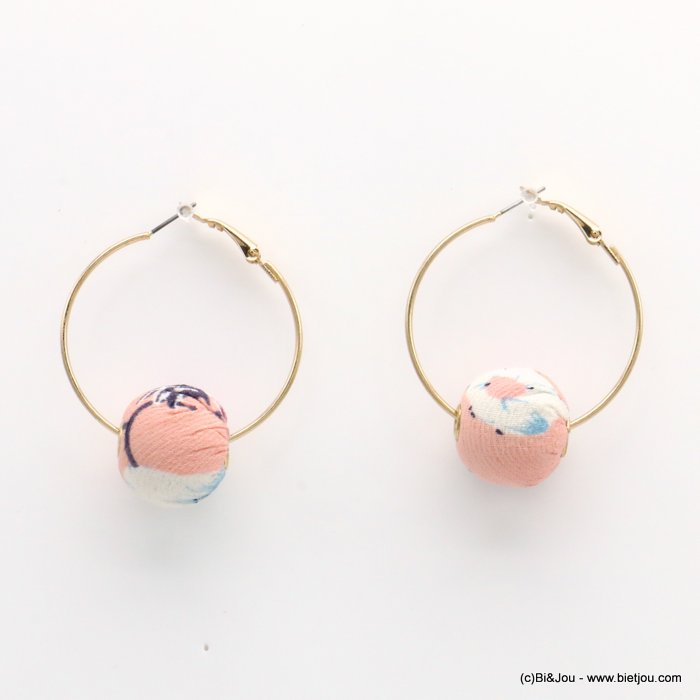 earrings 0319230-18 hoop flower print fabric ball saddle-back clasp ball diameter=20mm hoop diameter=38mm