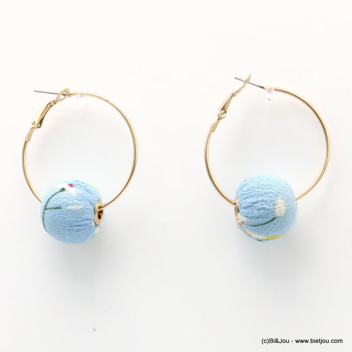 earrings 0319230-38 hoop flower print fabric ball saddle-back clasp ball diameter=20mm hoop diameter=38mm