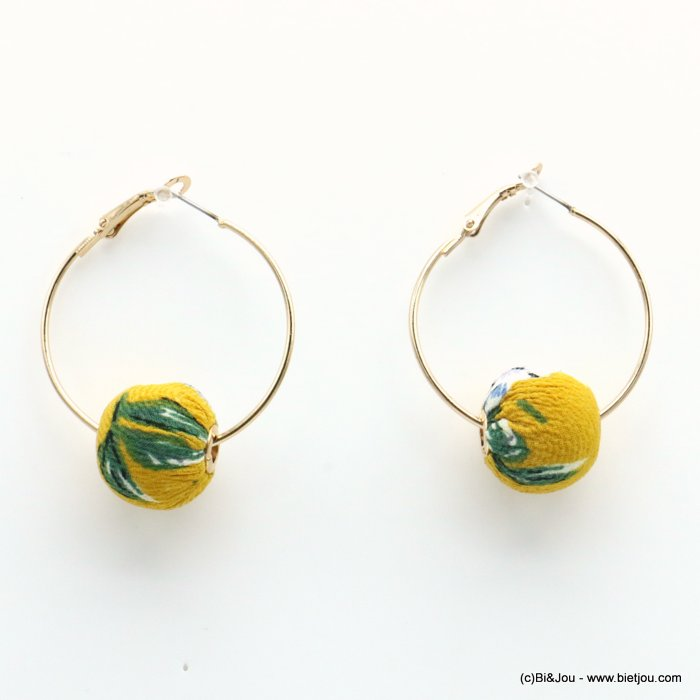 earrings 0319230-43 hoop flower print fabric ball saddle-back clasp ball diameter=20mm hoop diameter=38mm