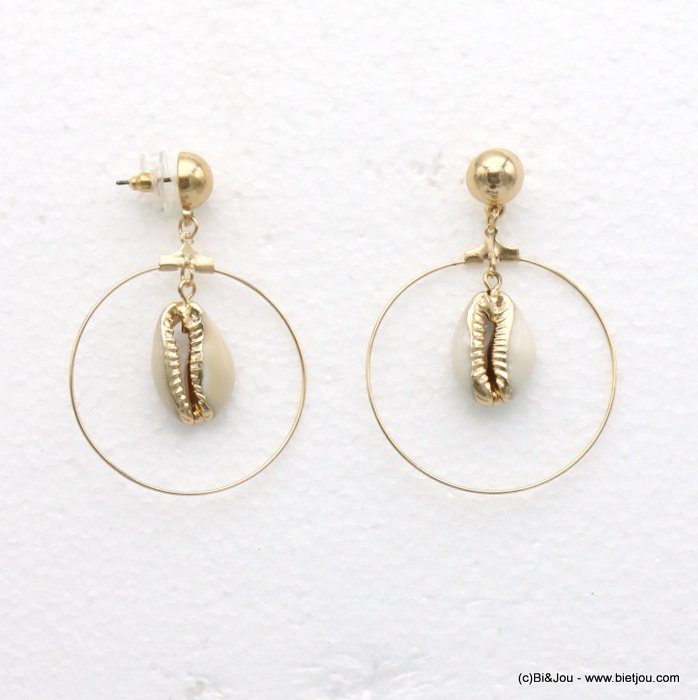 earrings 0319241-06 studs clap cabochon metallic rings cowri shell 60x40mm