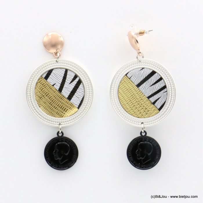 earrings 0319504-01 medal medallion round disc aluminum zebra pattern butterfly clasp 40x80mm