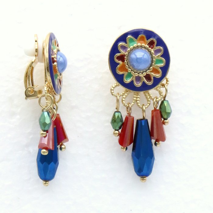 earrings 0319507-99 clips-claps enamel round disc flower cabochon crystal pendant 15x40mm