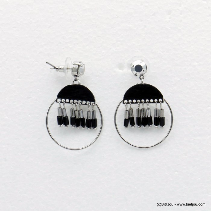 earrings 0319513-01 dangling round with crystal tube and tissue butterfly clasp in metal woman 45x30mm