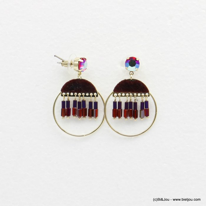 earrings 0319513-12 dangling round with crystal tube and tissue butterfly clasp in metal woman 45x30mm