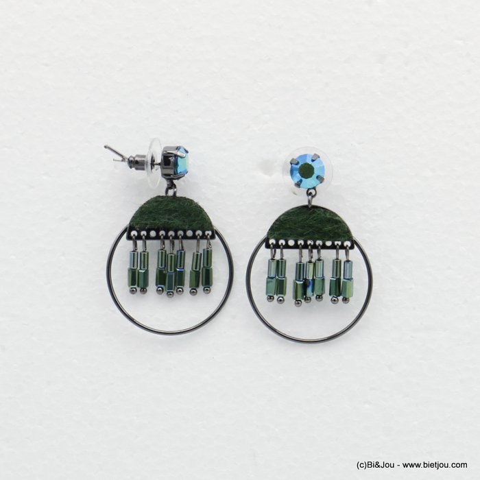 earrings 0319513-29 dangling round with crystal tube and tissue butterfly clasp in metal woman 45x30mm