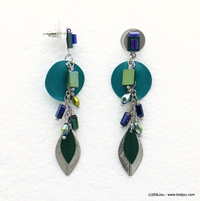 earrings 0319514-08 leaf butterfly clasp metal-crystal-glass 20x73mm