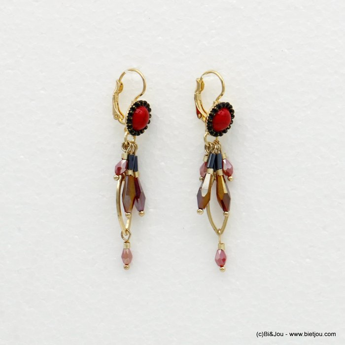 earrings 0319515-12 dangling with crystal drop beads vintage saddle-back clasp in metal woman 60x10mm