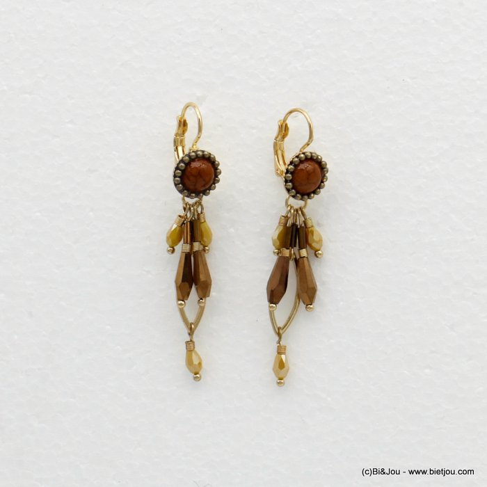 earrings 0319515-43 dangling with crystal drop beads vintage saddle-back clasp in metal woman 60x10mm
