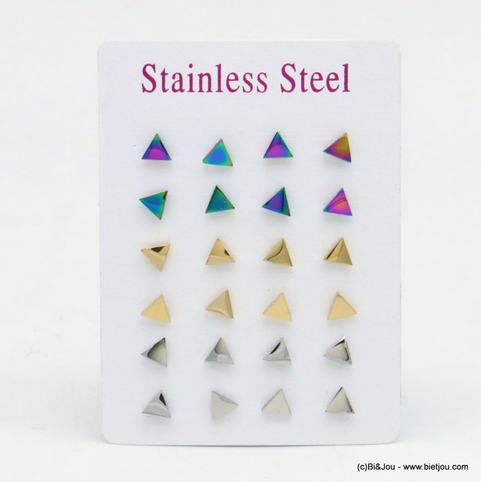 set of 12 pairs of earrings 0319520-99 stainless steel butterfly-clasp 6x5mm