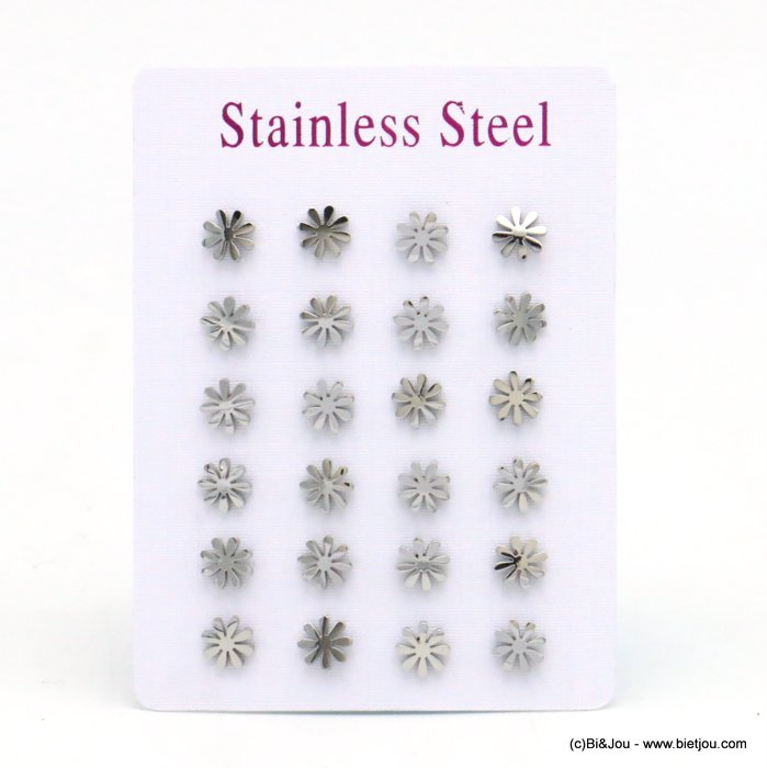 set of 12 pairs of earrings 0319522-13 flower stainless steel butterfly-clasp 5x5mm