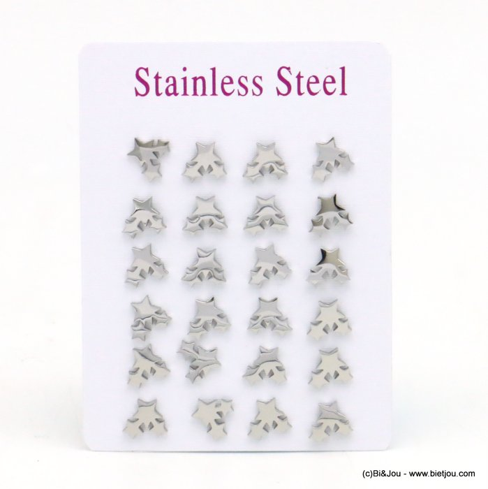 set of 12 pairs of earrings 0319525-13 star stainless steel butterfly-clasp 8x8mm