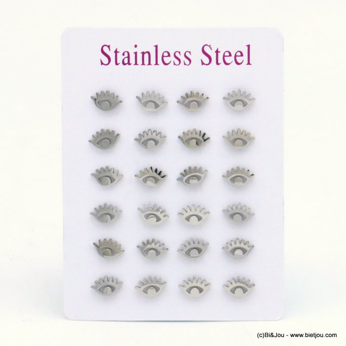 set of 12 pairs of earrings 0319526-13 eye stainless steel butterfly-clasp 8x5mm