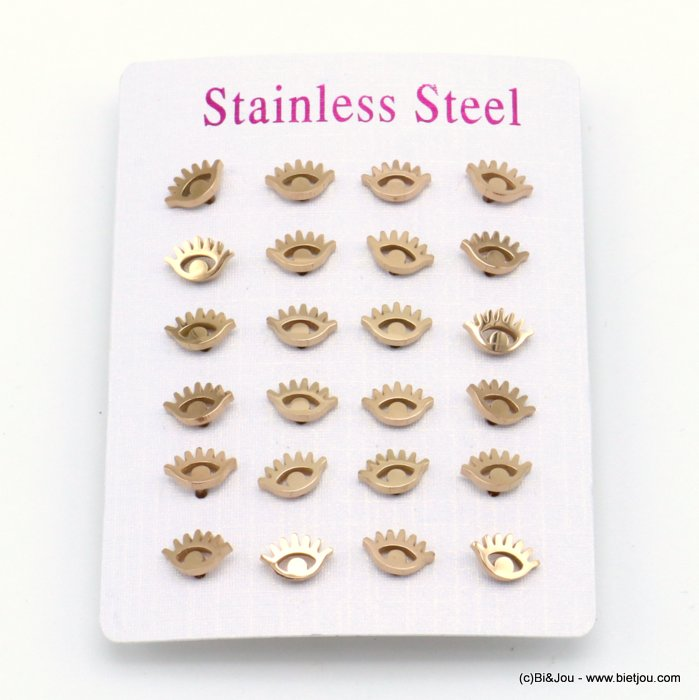 set of 12 pairs of earrings 0319526-23 eye stainless steel butterfly-clasp 8x5mm