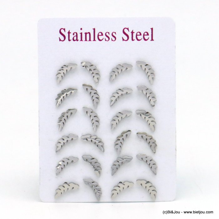set of 12 pairs of earrings 0319527-13 leafr stainless steel butterfly-clasp 3x12mm