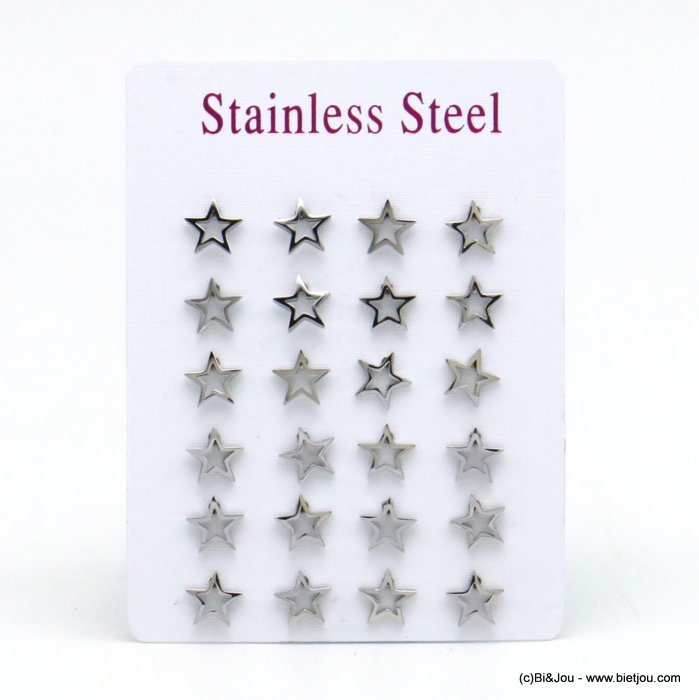 set of 12 pairs of earrings 0319528-13 star stainless steel butterfly-clasp 8x8mm