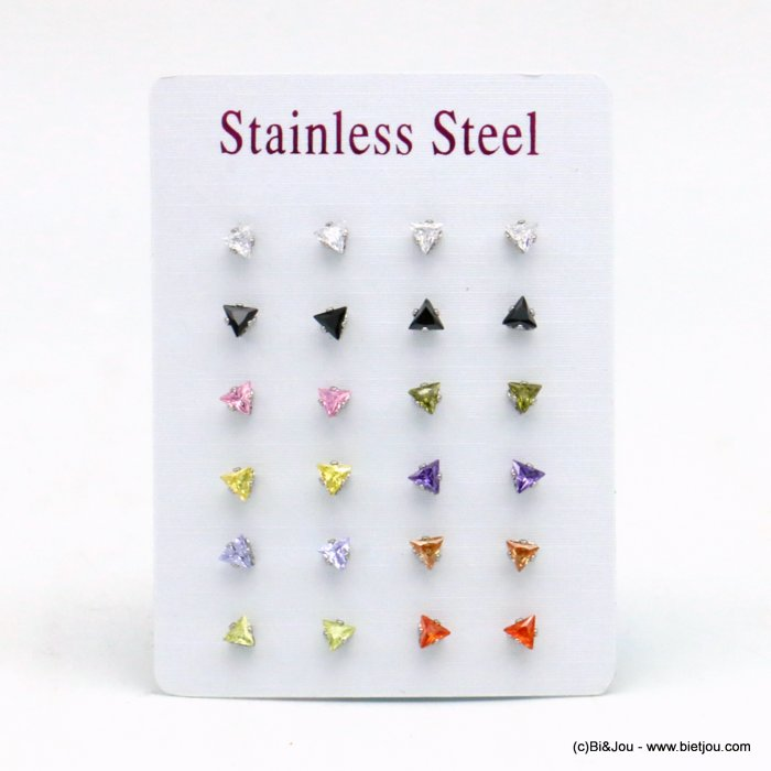 set of 12 pairs of earrings 0319531-99 ZIRCON-stainless steel butterfly-clasp 4x4mm