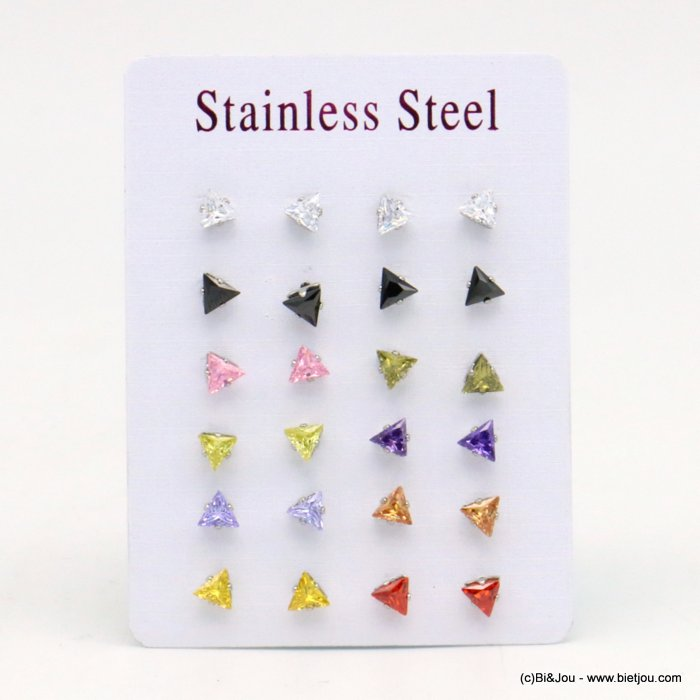 set of 12 pairs of earrings 0319539-99 ZIRCON-stainless steel butterfly-clasp 6x5mm