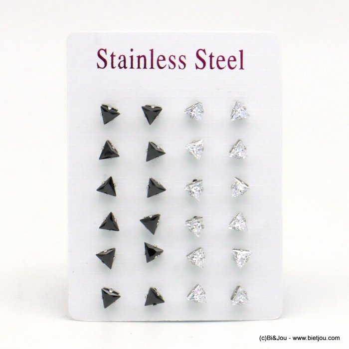 set of 12 pairs of earrings 0319540-97 ZIRCON-stainless steel butterfly-clasp 6x5mm